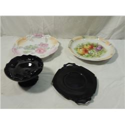LOT HAND PAINTED GERMAN PLATE BLACK AMETHYST GLASS