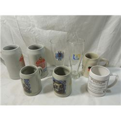 LOT 6 GERMAN STONEWARE BEER STEINS PILSNER MORE