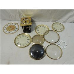 CLOCK PARTS LOT FACES GLASS CRYSTALS WORKS MORE