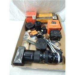 BOX LOT VINTAGE CAMERA LENSES TRIPODS MORE