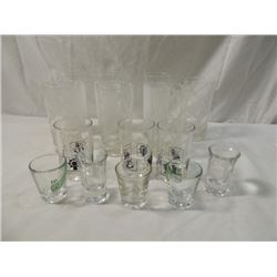 BEVERAGE GLASS LOT ETCHED SHOT GLASSES MORE!!