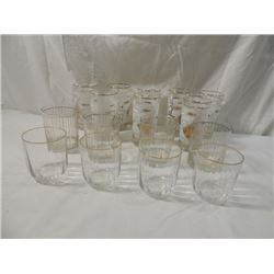 SWANKY SWIG BAR BEVERAGE GLASSES FISH GOLD RIM