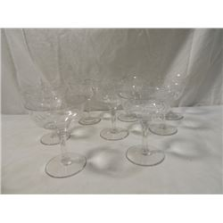 LOT 9 CUT CRYSTAL GLASS CHAMPAGNE ANTIQUE