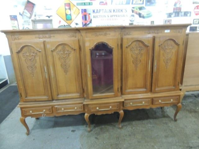 Antique oak buffet sideboard vitrine on stand for Sideboard vitrine