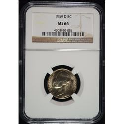 1950-D JEFFERSON NICKEL , NGC MS-66