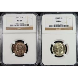 1944 & 1951-D JEFFERSON NICKELS, NGC MS-66