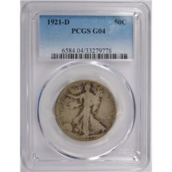 1921-D WALKING LIBERTY HALF DOLLAR PCGS G-04 - KEY DATE!