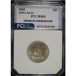 1853 ARROWS & RAYS SEATED QUARTER, PCI CHOICE BU