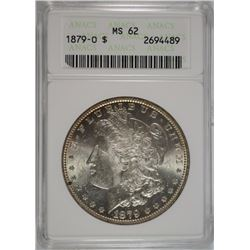 1879-O MORGAN SILVER DOLLAR, ANACS MS-62 WHITE