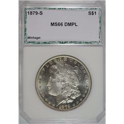 1879-S MORGAN SILVER DOLLAR, PCI SUPERB GEM BU DMPL