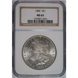 1880 MORGAN SILVER DOLLAR, NGC MS-65  BLAST WHITE