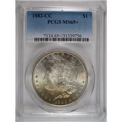 1882-CC MORGAN SILVER DOLLAR, PCGS MS-65+  SUPERB!