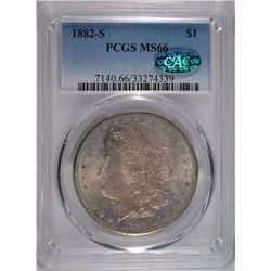 1882-S MORGAN SILVER DOLLAR, PCGS MS-66  CAC!