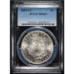 1883-CC MORGAN SILVER DOLLAR, PCGS MS-65+ BLAST WHITE