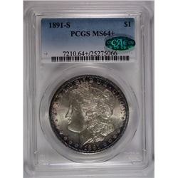 1991-S MORGAN SILVER DOLLAR, PCGS MS-64+  CAC!  LOOKS 65!
