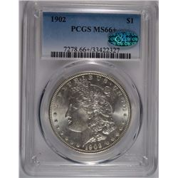 1902 MORGAN SILVER DOLLAR, PCGS MS-66+ CAC  BLAST WHITE!  HUGE MONEY IN 66