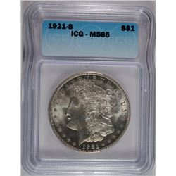 1921-S MORGAN SILVER DOLLAR, ICG MS-65 BLAST WHITE  TOUGH!
