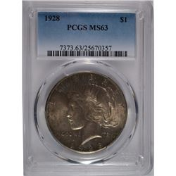 1928 PEACE SILVER DOLLAR, PCGS MS-63  KEY DATE!