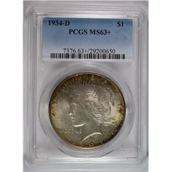 1934-D PEACE SILVER DOLLAR, PCGS MS-63+