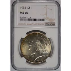 1935 PEACE SILVER DOLLAR, NGC MS-65