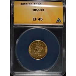 1855 $3.00 GOLD ANACS EF-45