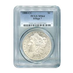 1880-CC 8/High 7 $1 Morgan Silver Dollar - PCGS MS64