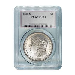 1881 $1 Morgan Silver Dollar - PCGS MS64