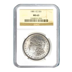 1881-CC $1 Morgan Silver Dollar - NGC MS63