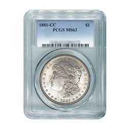 1881-CC $1 Morgan Silver Dollar - PCGS MS63