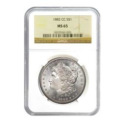 1882-CC $1 Morgan Silver Dollar - NGC MS65