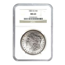1883-CC $1 Morgan Silver Dollar - NGC MS63