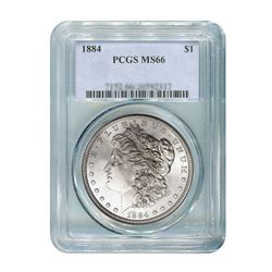 1884 $1 Morgan Silver Dollar - PCGS MS66