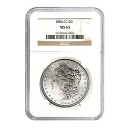1884-CC $1 Morgan Silver Dollar - NGC MS65