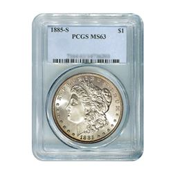1885-S $1 Morgan Silver Dollar - PCGS MS63