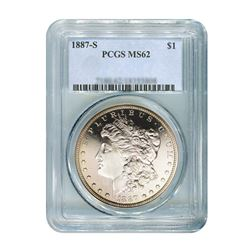 1887-S $1 Morgan Silver Dollar - PCGS MS62
