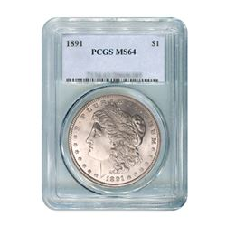 1891 $1 Morgan Silver Dollar - PCGS MS64