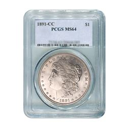 1891-CC $1 Morgan Silver Dollar - NGC MS64