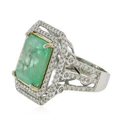 14KT White Gold GIA Certified 11.28ct Emerald and Diamond Ring
