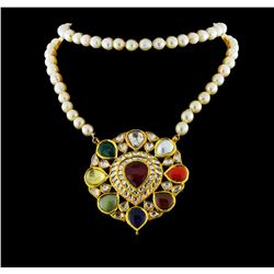 6.09ctw Multi Gemstone, Diamond and Pearl Necklace - 18KT Yellow Gold