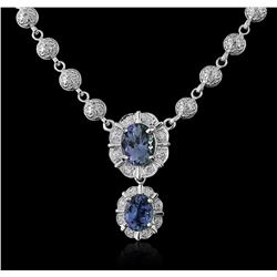 14KT White Gold 5.50ctw Tanzanite and Diamond Necklace
