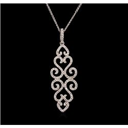 0.66ctw Diamond Pendant With Chain - 14KT White Gold