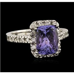 14KT White Gold 2.05ct Tanzanite and Diamond Ring