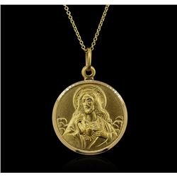 18KT Yellow Gold Sacred Heart Pendant With Chain