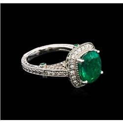 4.63ctw Emerald and Tsavorite Ring - 14KT White Gold