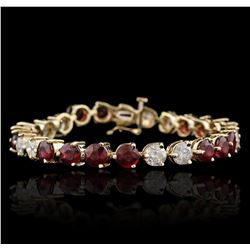 14KT Yellow Gold 4.32ctw Ruby and Diamond Bracelet