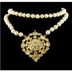 3.41ctw Diamond and Pearl Necklace - 18KT Yellow Gold