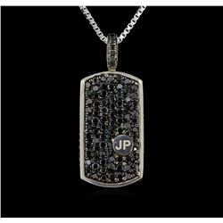 3.00ctw Black Diamond Pendant With Chain - SILVER