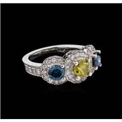 2.24ctw Yellow and Blue Diamond Ring - 14KT White Gold