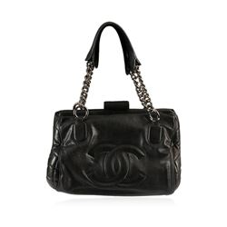 Chanel Black Leather Purse With Chain Handle
