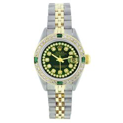 Rolex Two-Tone Emerald and Diamond DateJust Ladies Watch